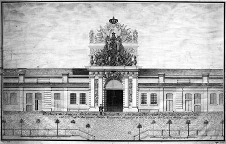 Brama Portowa, od strony miasta, 1768 r., Loeffler, rysunek. MNS/A.Foto/14506