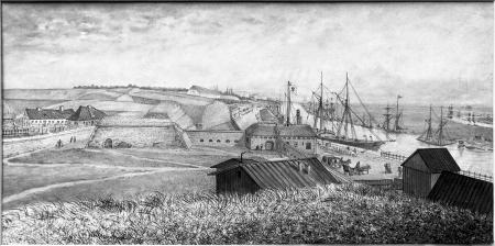 Przed Bramą Panieńską, z widokiem na Fort Leopolda. Felix Treder (1841-1909), rysunek piórem podmalowany tuszem. Dat. 1876. 17 x 34,5cm. MNS/A.Foto/5310 B