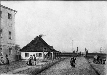 Brama Parnicka z odwachem. Felix Treder (1841-1909), rysunek piórem podmalowany akwarelą. Sygn.: 15,8 x 23cm. MNS/A.Foto/5359 A
