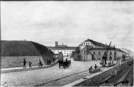 Przy Bramie Ślimaczej. Felix Treder (1841-1909), rysunek piórem podmalowany akwarelą. Sygn. 17,3 x 24,8cm. MNS/A.Foto/5359 B