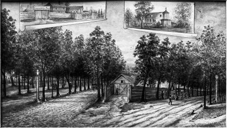 Rozwidlenie obecnych ulic Roosewelta i Matejki. (zagroda Metzla). Felix Treder (1841-1909), rysunek piórem podmalowany tuszem. 15 x 28cm. MNS/A.Foto/5328 B