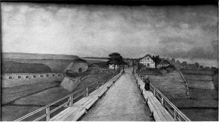 Tereny forteczne na Łasztowni. Brama Kozia od strony Mostu Parnickiego. Felix Treder (1841-1909), rysunek piórem podmalowany tuszem. 12,7 x 19,5cm MNS/A.Foto/5311 A