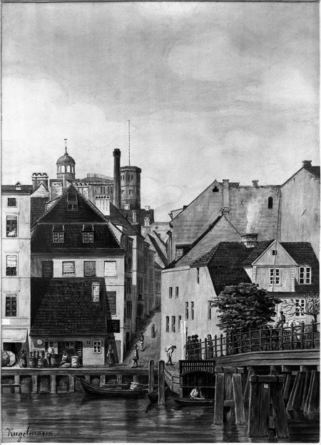 Stary Most Kłodny z widokiem nie istniejącej ulicy Kłodnej. Akwarela Theodora Kugelmanna około 1865. Sygn.: Kugelmann. 35 x 26cm. MNS/A.Foto/5320