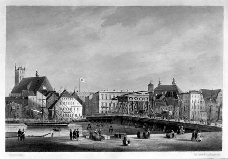 Most Długi. Kolorowana litografia Juliusa Gottheila; Zakład Litogr. W. Loeillota w Berlinie. Oficyna F. Waldowa w Szczecinie. 14,8 x 22,2cm. MNS/A.Foto/5331 B