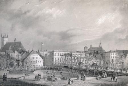 Widok nabrzeża koło Mostu Długiego. Rysunek ołówkiem Juliusa Gottheila. Około 1850. Sygn.: Gottheil. 14,5 x 20,5cm. MNS/A.Foto/5326 A