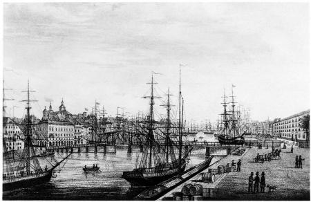 Widok na Most Długi ze Starego Miasta. Litografia Gustava Franka. Około 1860-1870. Druk H. Arnolda w Lipsku. 33,5 x 62cm. MNS/A.Foto/16127