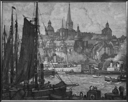 Widok na Szczecin z zamkiem. Obraz Hansa Hartiga. Sygn.: H. Hartig. 49,5 x 69cm. MNS/A.Foto/5467