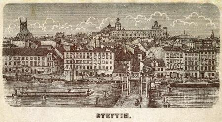 Widok z Łasztowni na most Kłodny i Bulwar Nadodrzański, w tle Zamek, drzeworyt z ok. 1854 r. MNS/A.Foto/14510