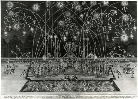 Pokaz ogni sztucznych na urodziny Fryderyka Wielkiego, 24 stycznia 1746. Zorganizowany przez Szczecińskie Kupiectwo na skutej lodem Odrze w święto zwycięskiego zakończenia drugiej wojny śląskiej. Miedzioryt Johanna Ernsta Gerickego w Berlinie 1746. 52 x 72cm. MNS/A.Foto/16114