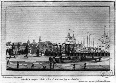 Widok przez Odrę na Most Długi w Szczecinie. Friedrich August Scheureck, akwaforta kolorowana, ok. 1790 r., 13 x 21cm. MNS/A.Foto/5312
