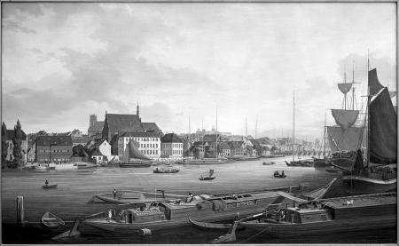 Widok nabrzeża między kościołem św. Jana i Mostem Długim. Obraz Ludwiga Eduarda Lütkego. Sygn.: Lütke 1839. 75 x 127cm. MNS/A.Foto/5324