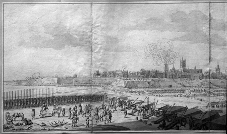 Widok od południa na miasto z wieżą kościoła Mariackiego płonącą po ostrzale 16 sierpnia 1677 r. Na pierwszym planie stanowisko wojsk brandenburskich. 35,3 x 113cm (część lewa i środkowa) MNS/A.Foto/5127