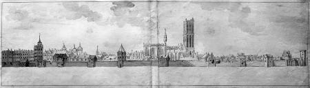 Fortyfikacje miejskie po ostrzale (16 i 17 sierpnia). Po lewej zamek, pośrodku kościół Mariacki. Rysunek piórem, podmalowany sepią i szarym tuszem. 23,5 x 85cm. MNS/A.Foto/5125