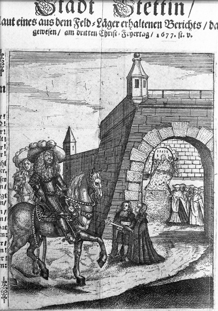 Druk ulotny z czasów oblężenia w 1677 r. z przedstawieniem przekazania miasta Wielkiemu Elektorowi. MNS/A.Foto/16116