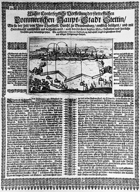 """Druk ulotny z czasu oblężenia w 1677 r. (""""Wahre Conterfeytliche Vorstellung""""...) z przedstawieniem ostrzału. MNS/A.Foto/13737"""