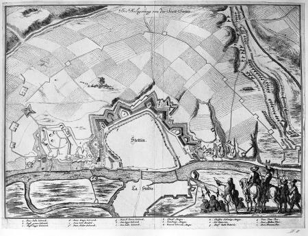 Oblężenie miasta Szczecina (1677). Plan miasta sztychowany na miedzi według nr 26 z dodaną grupą żołnierzy u dołu po prawej. 25,5 x 33,2cm. MNS/A.Foto/5041