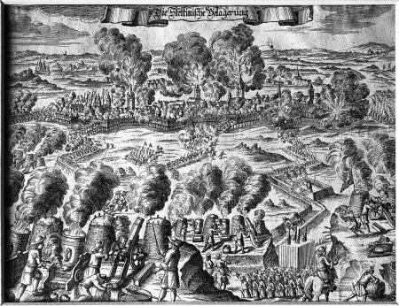 """Przedstawienie ostrzału z fantazji. (""""Die Stettinische Belagerung"""".) Miedzioryt z XVII wieku. 14,7x19,8cm. MNS/A.Foto/5132"""
