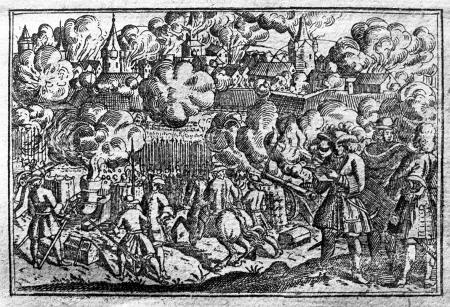 Szczecin. Widok ostrzału. Akwaforta z XVII wieku. 5,5 x 8,4cm. MNS/A.Foto/5117 A
