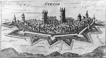 Widok miasta po ostrzale w 1677 r. Miedzioryt. 6,9 x 11,3cm. MNS/A.Foto/13734