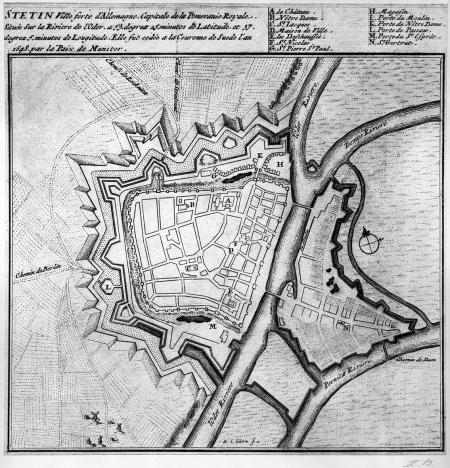 Plan Szczecina. Koniec XVII wieku, z francuskim tekstem ryty przez Lorenza Scherma w Amsterdamie. 20 x 20cm. MNS/A.Foto/5043