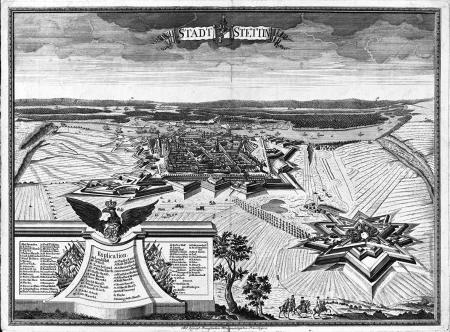 Miasto Szczecin Miedzioryt Georga Paula Buscha w Berlinie datowany 1736, kolorowany. Widok miasta i twierdzy z lotu ptaka. 47,5 x 63,5cm. MNS/A.Foto/9196