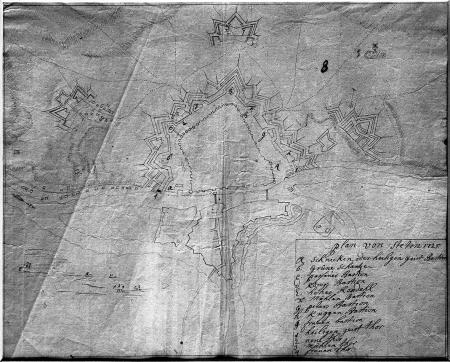 Plan Szczecina datowany 1725, z nazwami bastionów. Rysunek piórem. 26,5 x 34cm. MNS/A.Foto/5044