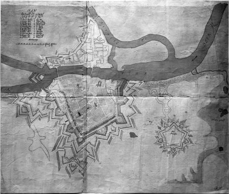 Plan miasta i twierdzy Szczecin z trzema fortami, datowany 1739, rysunek kolorowany. 60 x 90cm. MNS/A.Foto/5046