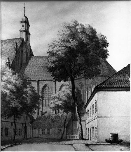 Kościół św. Jana z dawnym domem kaznodziei i zakrystiana (zburzonym w 1862 r.). Rysunek sepią z roku 1862 Emila Teschendorfa (1823 Szczecin – 1894 Berlin). 24,5 x 21,3cm. MNS/A.Foto/5247