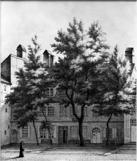 Dawna pastorówka przy dziedzińcu klasztornym i kościele św. Jana. Rysunek sepią z roku 1862 Emila Teschendorfa (1823 Szczecin – 1894 Berlin). 25 x 21,5cm. MNS/A.Foto/5248