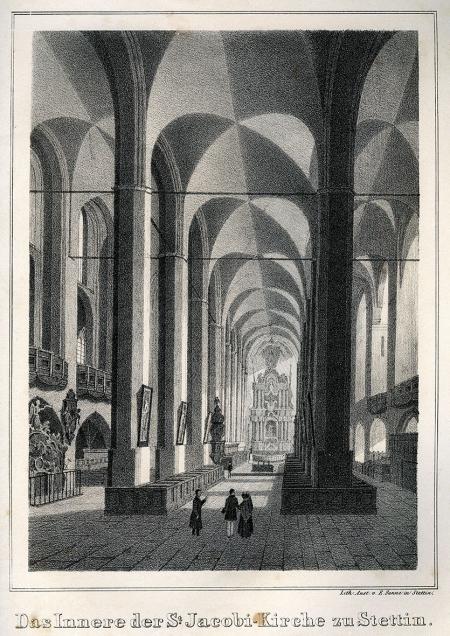 Wnętrze kościoła św. Jakuba. Litografia, druk w zakładzie E. Sannego w Szczecinie. Około 1850. 19,6 x 15,7cm. MNS/A.Foto/16122