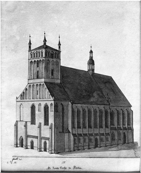 Kościół św. Jakuba od południa. Rysunek piórem podmalowany tuszem Ludwiga Mosta. Sygn.: Most del. d. 5.9. 36. 19,5 x 15,7cm. MNS/A.Foto/5150
