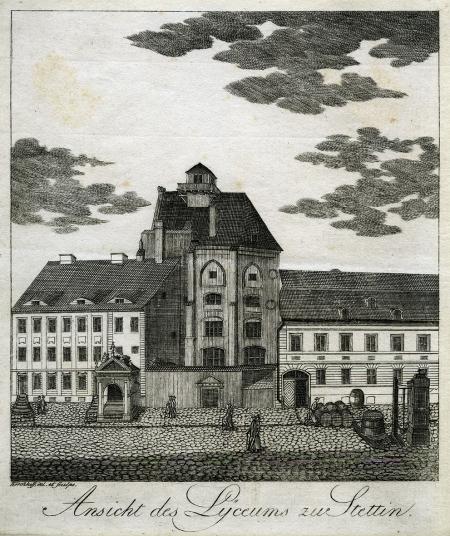 Liceum Rady przy obecnej ul. Grodzkiej. Friedrich Ludwik Kirchhoff (1750-1804 ?). 1804 r. (?), miedzioryt. MNS/A.Foto/16123