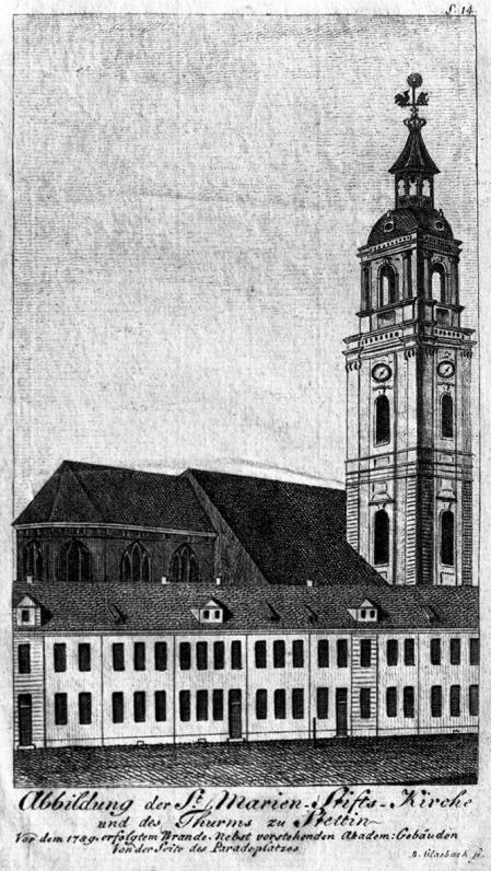 Kościół Mariacki w Szczecinie. Sztych Glasbacha. 14,5 x 8,2cm. MNS/A.Foto/5142 B