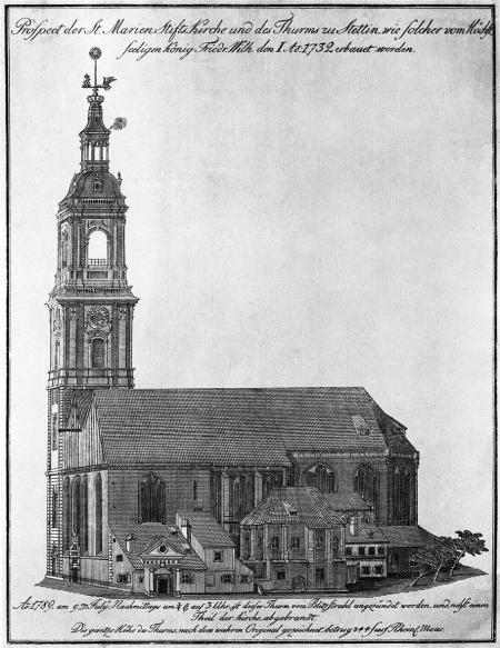 Kościół Mariacki przez pożarem 9 lipca 1789 r. Friedrich Ludwig Kirchhoff (1750-1804 ?). 1789 r., sztych kolorowany, 31x14,5cm. MNS/A.Foto/5140 A