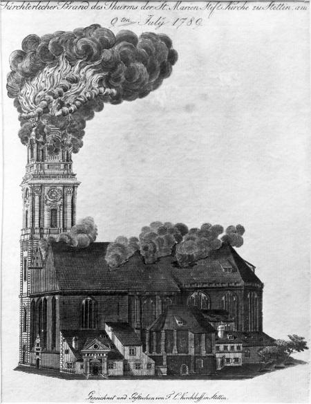 Straszny pożar wieży kościoła Fundacji Mariackiej w Szczecinie 9 lipca 1789. Friedrich Ludwig Kirchhoff (1750-1804 ?). sztych kolorowany. MNS/A.Foto/5141 A