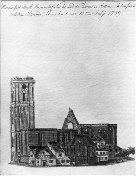 Kościół Mariacki po pożarze. Friedrich Ludwig Kirchhoff (1750-1804 ?). sztych kol. MNS/5141 B