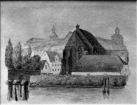 Kościół Mariacki klasztoru żeńskiego. Akwarela z 1845 r. Kościół cysterek, gotycka budowla ceglana pochodząca z XIV wieku, położona nad Odrą w okolicy ulicy Lazurowej, służyła w ostatnim okresie jako arsenał i została rozebrana w 1904 r. 7,5 x 9,5cm. MNS/A.Foto/5252 B (13x18)