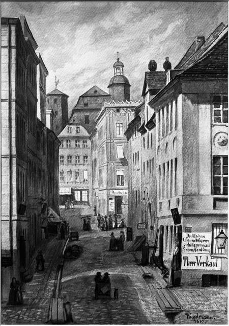 Widok ulicy Środowej. Akwarela Theodora Kugelmanna z roku 1870. Sygn.: Kugelmann 1870. 35 x 24,8cm. MNS/A.Foto/5281