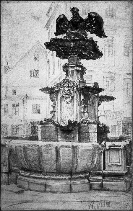 Stara fontanna z 1732 r. na obecnym placu Orła Białego. Rysunek kredką Adolfa Menzla (1815 Wrocław – 1905 Berlin). Sygn.: A. M. 51. 19,5 x 12,5cm. MNS/A.Foto/6166