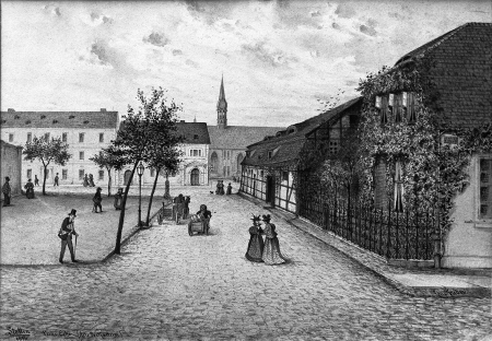 Stara poczta konna przy obecnej ulicy Korsarzy. Na tylnym planie kościół św. Piotra i Pawła. Felix Treder (1841-1909), sygn. i dat. 1896. Rysunek piórem podmalowywany tuszem. 19,2 x 27,6cm. MNS/A.Foto/5350 B (13x18)