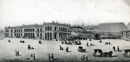 Dworzec kolejowy. J. Cohn, 1850 r. litografia, MNS/A.Foto/13597