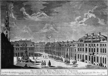 Widok obecnego placu Orła Białego w Szczecinie. Według rysunku J.F. Freunda, rytowany w 1734 r. przez Joh. Georga Wolffganga w Berlinie (1664-1744). Po prawej pałac Grumbkowa, po lewej fontanna. 38 x 54,5cm. MNS/A.Foto/5339
