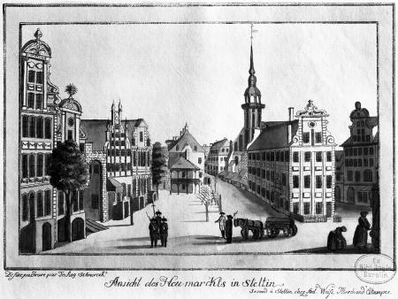 Widok Rynku Siennego w Szczecinie. Friedrich August Scheureck, akwaforta kolorowana, ok. 1790 r., 13,4 x 22cm. MNS/A.Foto/5334