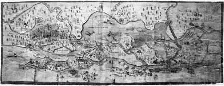 Mapa okolic Szczecina i biegu Odry aż do Roztoki Odrzańskiej z dokładnym opisem topograficznym, pomierzona w 1630 r. i narysowana w 1650 r. przez Wendelina Schildknechta, inżyniera i budowniczego twierdzy w służbie szwedzkiej. Pióro i akwarela. Sygn. po lewej u dołu: Wendelinus Schildknecht delineavit Ao. 1650, dimens. Ao. 1630. 32,5 x 89cm. MNS/A.Foto/5031