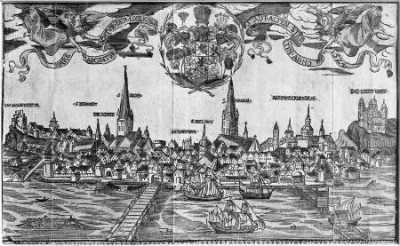 """Widok Szczecina z roku 1624. Kolorowany drzeworyt z Friedeborna """"Descriptio urbis Stettinensis"""". 18 x 29cm. MNS/A.Foto/5057"""
