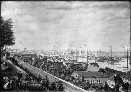 Widok Szczecina od południa, ujęty z ogrodu Sacka. Na pierwszym planie tereny kolei i stara fabryka Rückforta. Malowany farbą kryjącą i akwarelą przez Karla Steinberga 1865. 48 x 67,5cm. MNS/A.Foto/5103