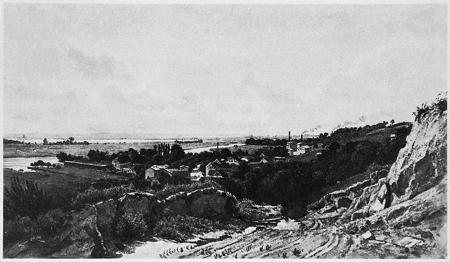 Widok Gocławia, w dali Szczecin. Akwarela Wilhelma Streckfussa z roku 1890. Stempel spuścizny. 26,8 x 48,5cm. MNS/A.Foto/16147