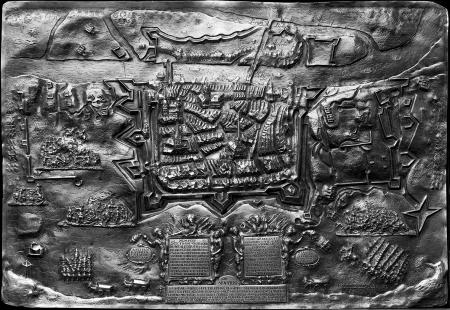 Oblężenie Szczecina w roku 1659. Płaski relief z trybowanego srebra, pozłacany. Sygn.: Gottfried Tabbert fecit 1660. 23 x 34cm. Gottfried Tabbert, złotnik i wycinacz stempli menniczych, 1633 obywatel Szczecina, pogrzebany tamże w kościele Mariackim 5 sierpnia 1664 r. MNS/A.Foto/5114