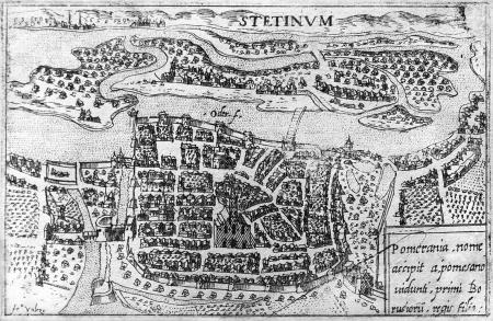 """""""Stetinum"""". Mały widok miasta z lotu ptaka. Akwaforta Francesca Valesia (1560 – po 1611). 8,6 x 13,2cm. MNS/A.Foto/13601"""