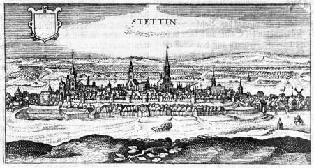 Widok miasta od zachodu. Miedzioryt. 6,5 x 13 cm. MNS/A.Foto/13732